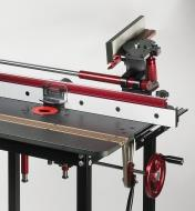 JessEm Mite-R-Slide installed on router table with gauge flipped out of the way