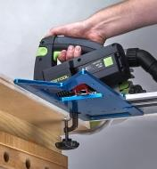 Using a track saw with a GRS-16 guide rail square on a Festool track-saw guide to cut plywood