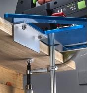 """A 6"""" angle accessory mounted on a GRS-16 guide rail square to aid registration on a profiled edge"""