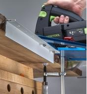 """A 15"""" angle accessory mounted on a GRS-16 PE guide rail square for registration on live-edge stock"""