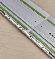 A pair of GRC-12 guide rail connectors used to link two Festool guide rails end to end