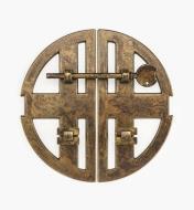 01X4305 - Loquet sur platine à deux arcs de 168 mm, fini laiton ancien