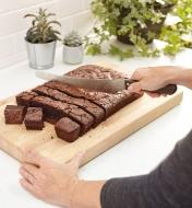 Slicing brownies with the Long-Blade Bread Knife