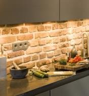 Example of LED lights installed under kitchen cabinets