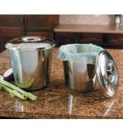 Both sizes of Compost Pails on a counter, the smaller pail lined with a compostable bag