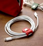 Leather Cord Keepers used to bundle headphone and electronics cords