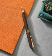Example of a New Series gold pen turned from a wood blank.