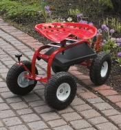 Steerable Rolling Seat with Tool Tray sitting on a garden walkway