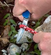 Knife blade on the Swiss multi-tool tick remover locked in open position and used to cut through woven cord