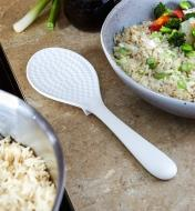 Rice Paddle sitting on a counter between a bowl of rice and a bowl of stir-fry