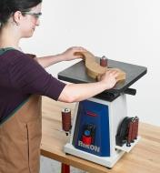 Sanding a curved project with the Rikon Oscillating Spindle Sander