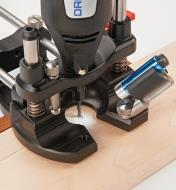 Task Light mounted to the Veritas Plunge Base being used with a rotary tool