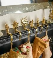 45K1946 - Set of 6 Brass Hangers