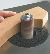 Close-up of perforated insert on sander table