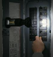 Easy-to-Aim Work Light illuminating an electrical panel