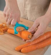 Peeling carrots with a Y-Peeler