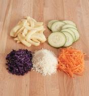 Examples of vegetables that are sliced and grated