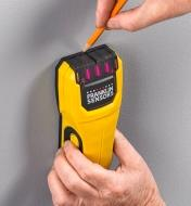 The Franklin M50 stud detector's pencil notch is used in marking a stud's location