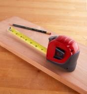 Starrett Exact tape measure on a wooden board
