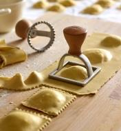 Square ravioli stamp set up to cut out square-shaped ravioli