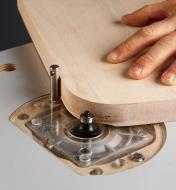 Removable pivot post installed in the table top to guide a curved workpiece