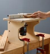 Veritas table system for compact routers clamped to a workbench