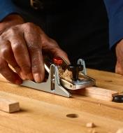 Using a dual-angle block plane with the depth skates to plane a workpiece to a specific thickness