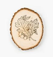 Sample design of oak leaves and acorns burned into basswood plaque
