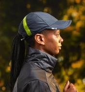 Side view of a person wearing the active cap