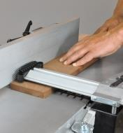 "The blade guard on the Rikon 10"" helical planer/jointer helping to protect the user from injury"