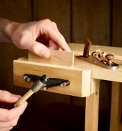 Clamping a piece of wood in the Miniature Bench Vise