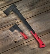 The splitting axe and the hatchet shown next to each other for scale