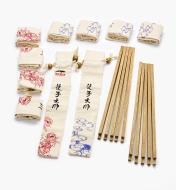17N1607 - Ébauches de baguettes en wengé, 10 paires avec étuis