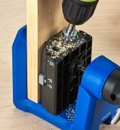 """A Kreg 530 drill guide used in place of the 520 Pro drilling block to drill pocket holes in 1/2"""" material"""