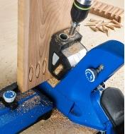 The Kreg 740 kit used with the 720 Pro jig to cut wooden plugs to conceal pocket holes