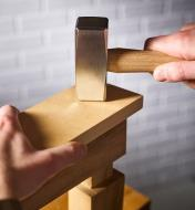 Assembling a mortise and tenon joint using the Crucible lump hammer.