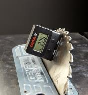 Using a digital level box to set the blade angle of a table saw