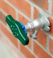 Faucet Grip installed on an outdoor faucet