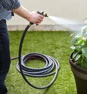 Using a Viper hose to water a planter