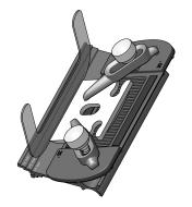Illustration of shim being used to set the micro-bevel on a blade held in the jig