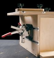 Example of a tenoning jig made with double T-slot tracks.