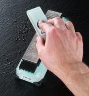 Dressing a stone using the GS7 lapping plate and GS7 holder.