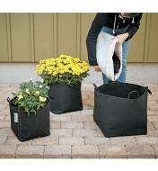 Pouring soil into a fabric pot, with plants already planted in two nearby fabric pots