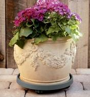Elho rolling pot saucer with a planter pot of flowers on it