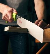 Cutting through plywood using a Japanese rip/crosscut saw