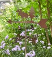 The topper, wind cups and directional of the moose garden weathervane