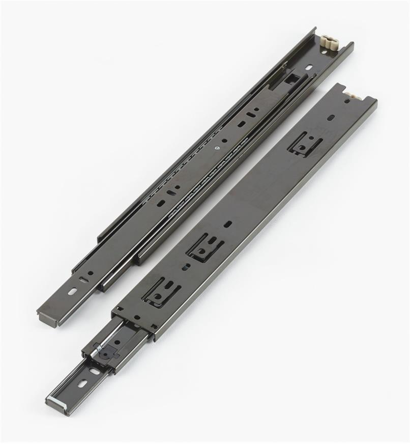 02K3614 - Coulisses de 14po à extension complète pour charge de 100lb, fini noir, la paire