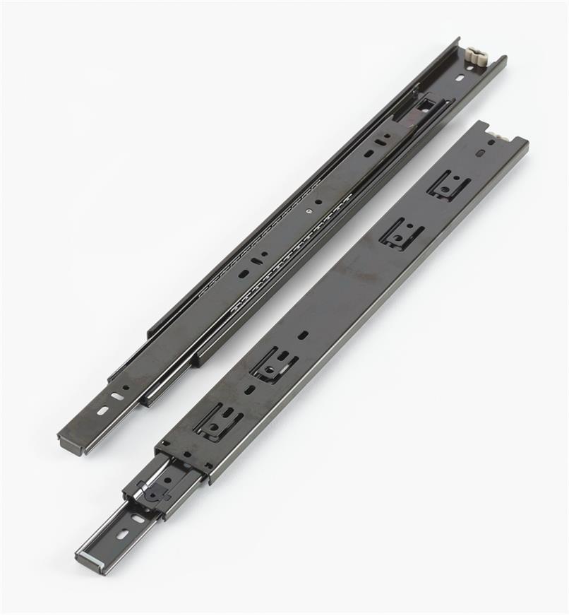 02K3616 - Coulisses de 16po à extension complète pour charge de 100lb, fini noir, la paire