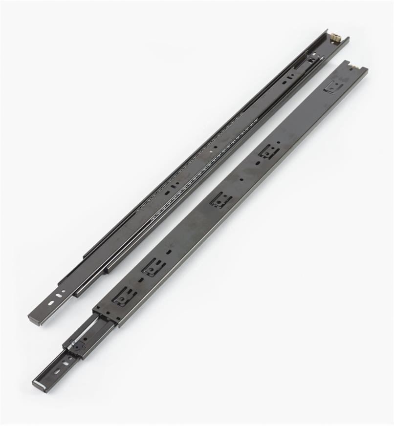 02K3626 - Coulisses de 26po à extension complète pour charge de 100lb, fini noir, la paire