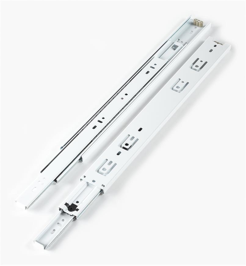 02K3716 - Coulisses de 16po à extension complète pour charge de 100lb, fini blanc, la paire